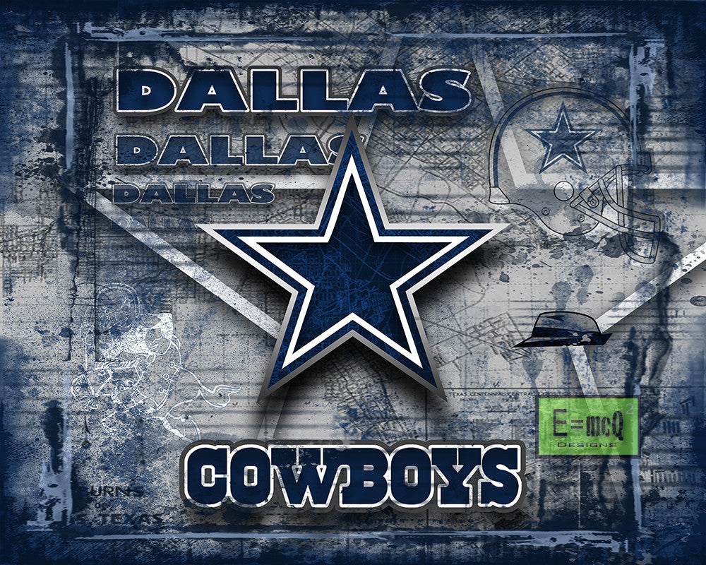 Dallas Cowboys Football Poster, Dallas Cowboys Gift, Dallas Cowboys Map Art, Cowboys Landscape