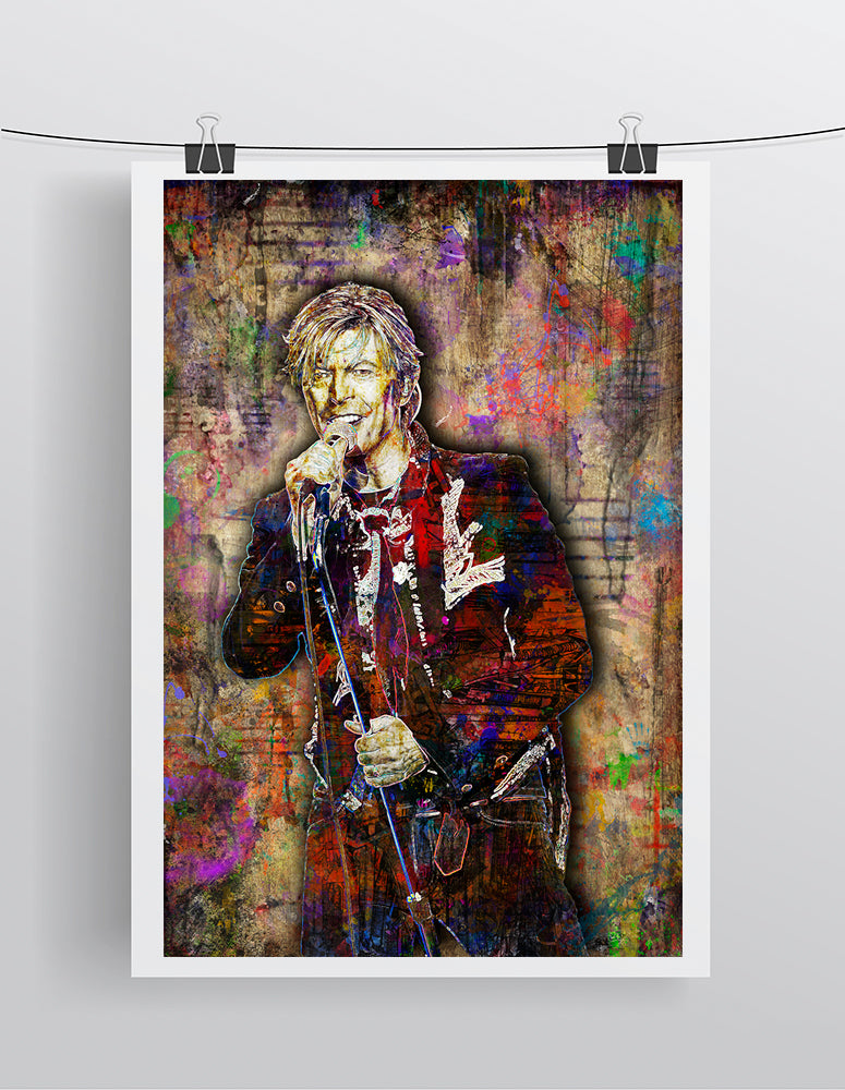David Bowie Poster, David Bowie Portrait Gift, David Bowie Colorful Layered Tribute Fine Art