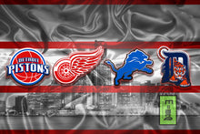 Detroit Sports Teams Poster, Lions, Tigers, Pistons, Red Wings Poster