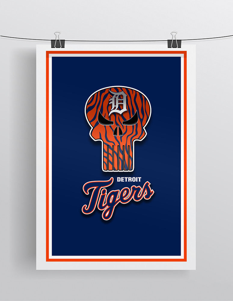 Detroit Tigers Punisher Poster, Detroit Tigers Punisher Logo Artwork Gift, Tigers Punisher Man Cave Art