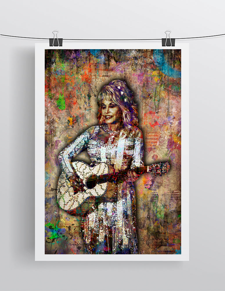 Dolly Parton Poster, Dolly Parton Portrait Gift, Dolly Parton Tribute Fine Art