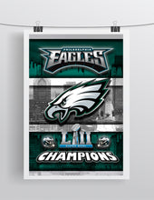 Philadelphia Eagles Super Bowl Championship 2018 Poster, Philadelphia Eagles Artwork, EAGLES Skyline
