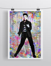 Elvis Presley Poster, Elvis Presley Gift, Elvis The King of Rock N' Roll Colorful Layered Tribute Fine Art