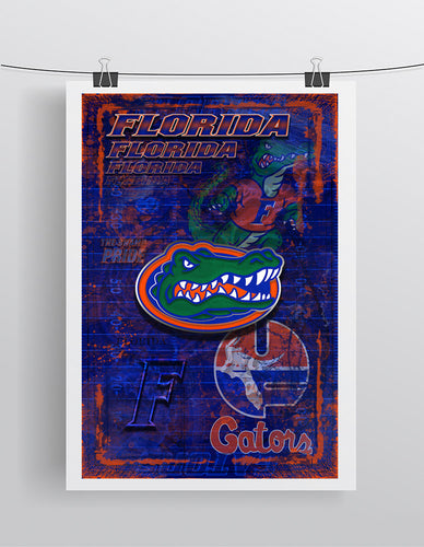 Florida Gators Poster, University of Florida Gift, Gators Man Cave, Florida Print