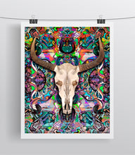 Cow Skull Fine Art, Greek Mythology Inspired Bull/Cow Skull Colorful Print