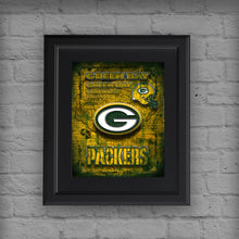 Green Bay Packers Football Poster, Green Bay Packers Man Cave Gift, Packers Unique Print