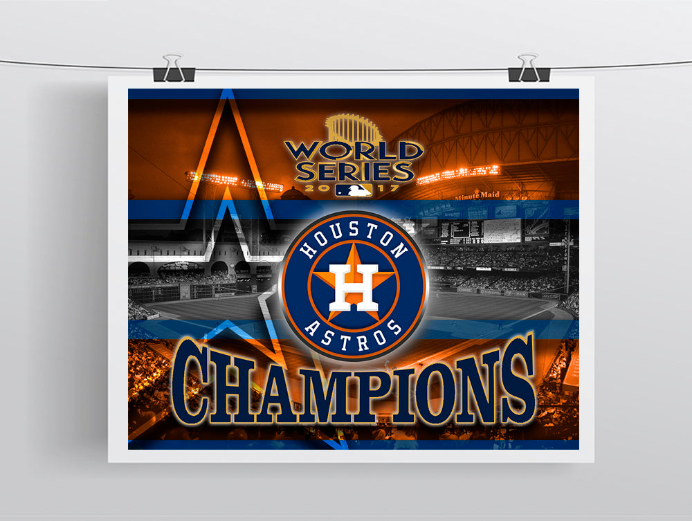 Houston Astros Poster 2017 World Series Championship Poster, Astros Man Cave Art