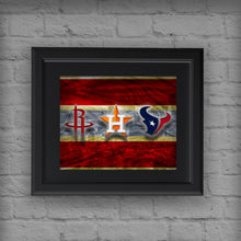 Houston Texans Sports Poster, Houston TEXANS, Houston ASTROS, Houston Rockets Artwork, Houston Teams in front of Houston Skyline, Texans Astros Rockets Gift NFL