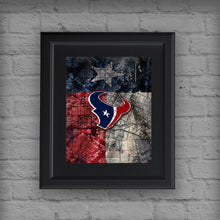 Houston Texans Sports Poster, Houston TEXANS Artwork, Texans in front of Houston Map and Texas Flag, Texans NFL