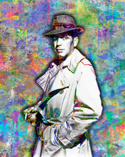 Humphrey Bogart Poster, Humphrey Bogart Gift, Humphrey Bogart Colorful Layered Tribute Fine Art