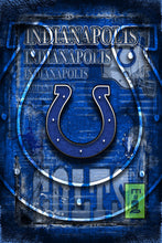 Indianapolis Colts Sports Poster, Indianapolis COLTS Artwork, Colts in front of Indiana Map, Colts NFL Man Cave Gift