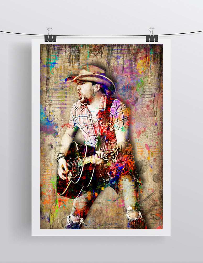 Jason Aldean Poster, Jason Aldean Portrait Gift, Jason Aldean Colorful Layered Tribute Fine Pop Art