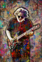 Jerry Garcia Poster, Jerry Garcia Portrait Gift, Grateful Dead Colorful Layered Tribute Fine Art