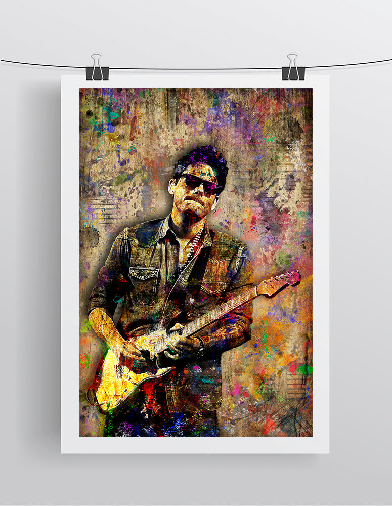 John Mayer Layered Poster, John Mayer Portrait Gift, John Mayer Colorful Layered Tribute Fine Art