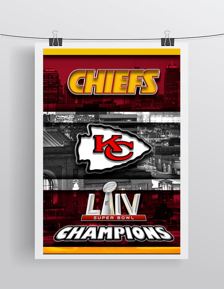 Kansas City Chiefs Super Bowl Championship Poster, Kansas City Chiefs Skyline Poster