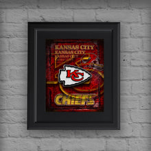 Kansas City Chiefs Sports Poster, Kansas City Chiefs Artwork, Chiefs in front of KC Map, Chiefs NFL Man Cave Gift