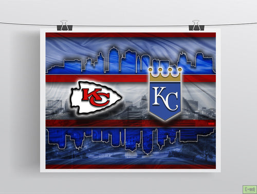 Kansas City Sports Poster, Kansas City Missouri Sports  Artwork, Chiefs and Royals in front of KC Skyline, Chiefs Royals Gift