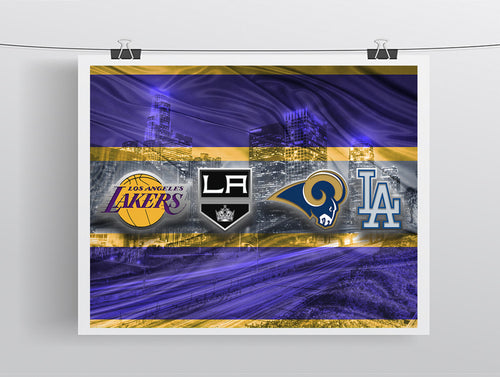 Los Angeles Sports Teams Poster, Los Angeles Dodgers, LA Kings LA Lakers, LA Rams, Man Cave Art