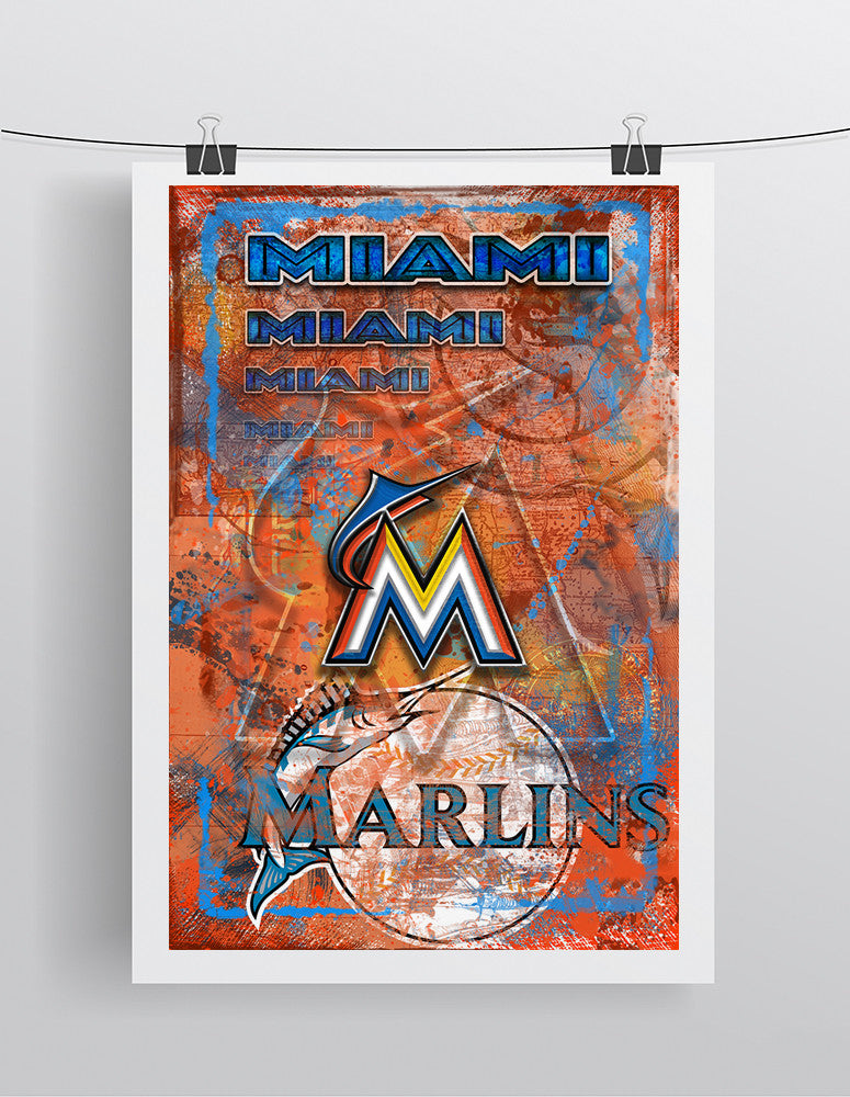 Miami Marlins Poster, Miami Marlins Artwork Gift, Florida Marlins Layered Man Cave Art
