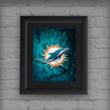 Miami Dolphins Sports Poster, Miami Dolphins Artwork, Dolphins in front of Florida Map, Dolphins NFL Gift