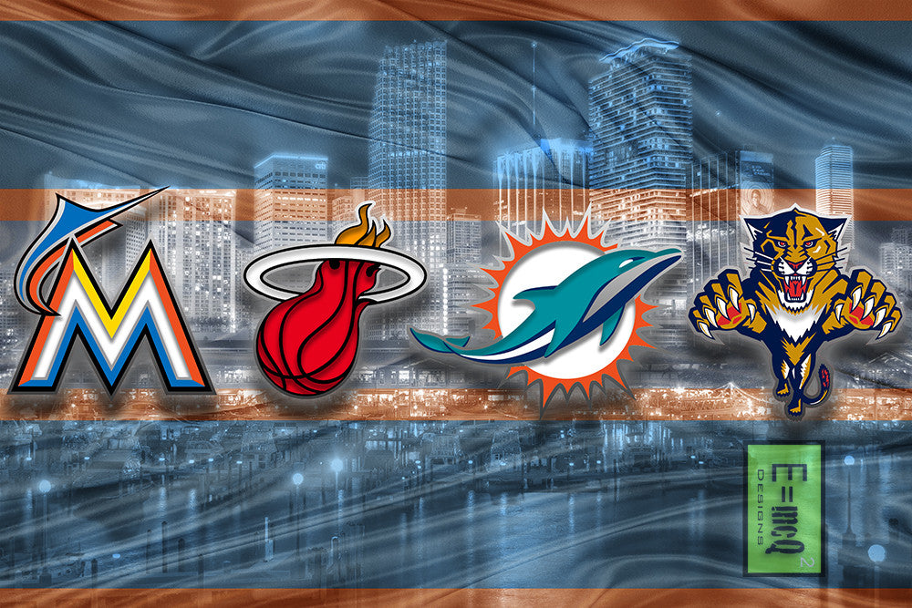 Miami Sports Poster, Miami Dolphins, Miami Marlins, Miami Heat, Florida Panthers Artwork, Miami Florida Teams in front of Miami Skyline, HEAT DOLPHINS PANTHERS MARLINS Gift NFL