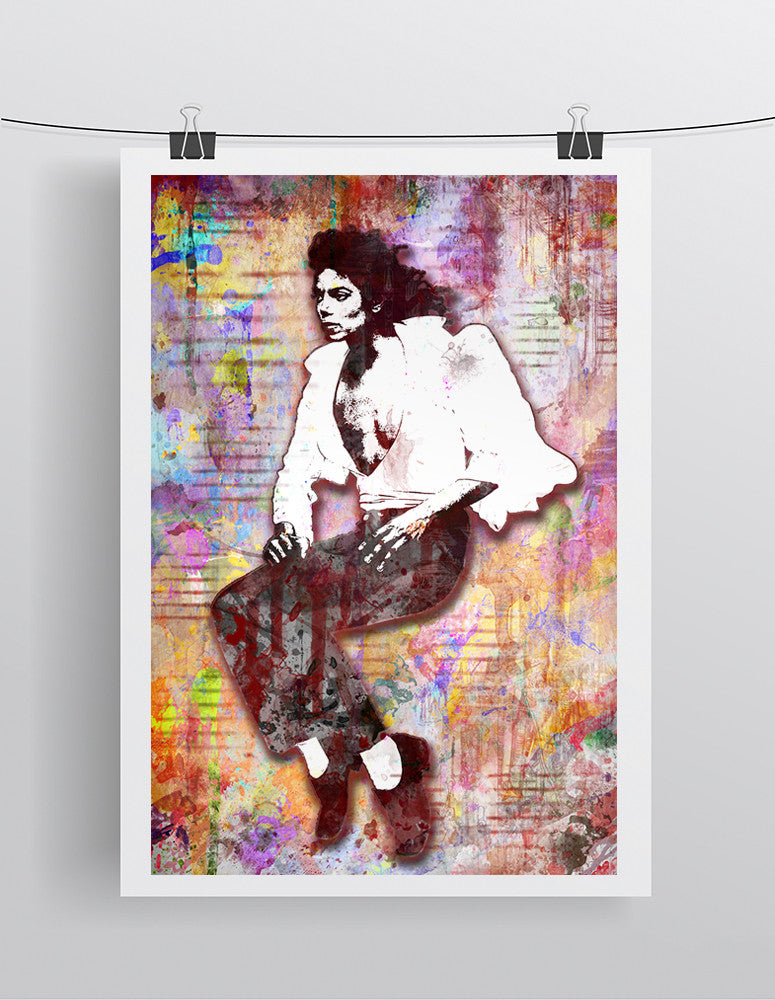 Michael Jackson Poster, Michael Jackson Gift, Michael The King of Pop Colorful Layered Tribute Fine Art