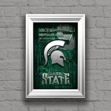 Michigan State Spartans Poster, Spartans Gift, Michigan State Man Cave, Michigan State Spartans Print