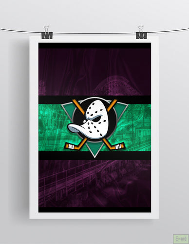 Anaheim Ducks Hockey Poster, Anaheim Mighty Ducks Retro Logo in front of skyline, Ducks Print