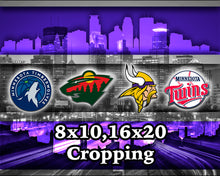 Minnesota Sports Poster, Minnesota Vikings, Twins, Timberwolves, Wild