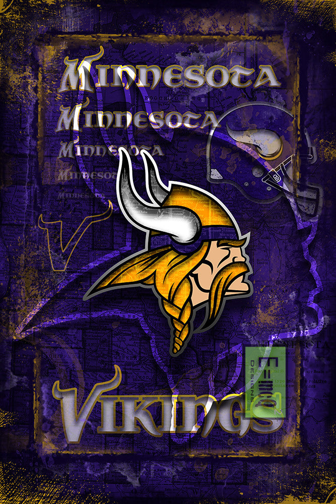 Minnesota Vikings Sports Poster, Minnesota Vikings Artwork, VIKINGS in front of Minnesota Map, Vikings Man Cave Gift