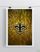 New Orleans Saints Sports Poster, New Orleans SAINTS Artwork, Saints in front of New Orleans Map, Saints Man Cave Gift