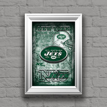 New York Jets Sports Poster, New York JETS Artwork, Jets in front of New York Map, Jets Man Cave Gift