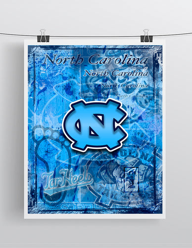 North Carolina Tar Heels Poster, NC Tar Heels Print, Tar Heels gift, North Carolina Cave Picture