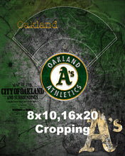 Oakland Athletics Poster, Oakland Athletics Artwork Gift, A's Layered Man Cave Art