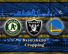 Oakland Sports Teams Poster, Oakland Sports Print, Oakland Athletics, Oakland Raiders, GS Warriors