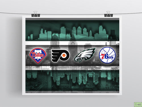 Philadelphia Sports Teams Poster, Philadelphia Eagles, Flyers, 76ers, Phillies, gift