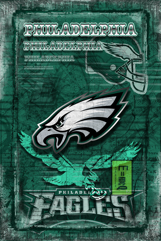 Philadelphia Eagles Football Poster, Philadelphia Eagles Artwork, Philadelphia EAGLES Man Cave Football Print in front of Philly Map