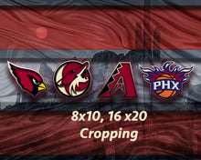 Phoenix Sports Poster, Phoenix Arizona Sports Artwork, AZ Cardinals, Coyotes, Suns D-Backs in front Desert, Arizona Man Cave