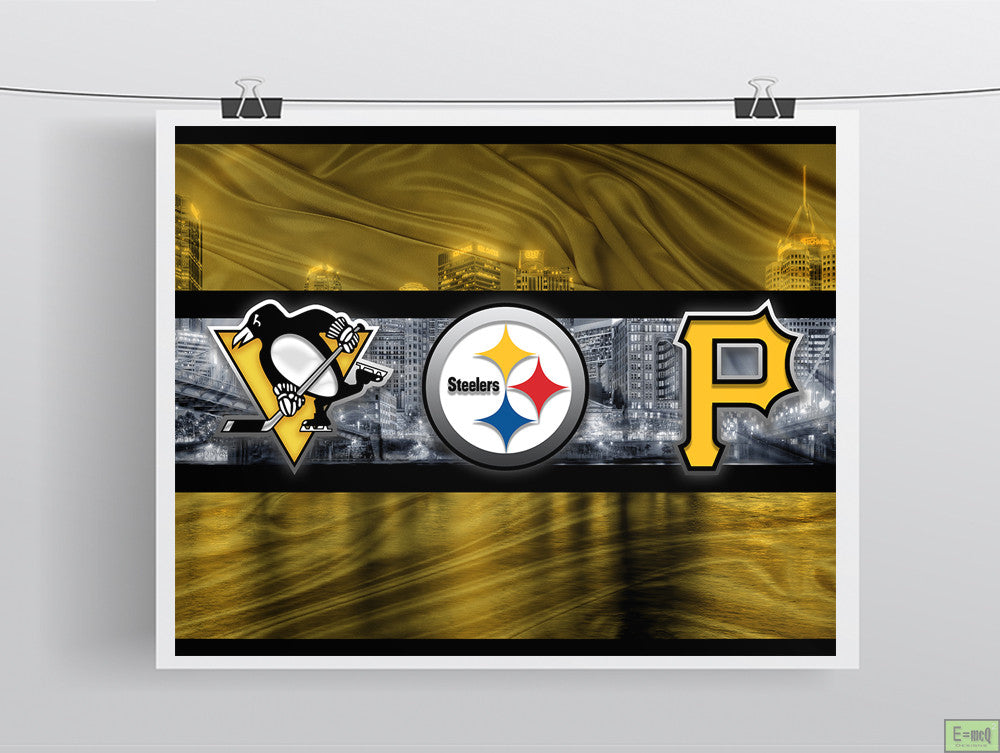Pittsburgh Sports Teams Poster, Pittsburgh Steelers, Pittsburgh Pirates, Pittsburgh Penguins Art