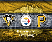 Pittsburgh Sports Teams In Front of Skyline Poster, Pittsburgh Steelers, Pittsburgh Pirates, Pittsburgh Penguins Art