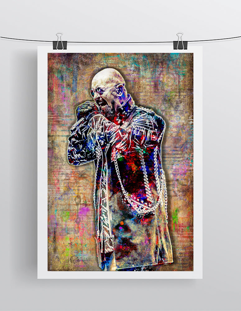 Rob Halford Poster, Rob Halford of Judas Priest  Portrait Gift, Judas Priest Tribute Fine Art
