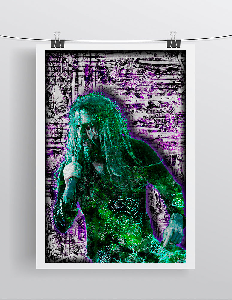 Rob Zombie Poster, Rob Zombie Portrait Gift, Rob Zombie Colorful Layered Tribute Fine Pop Art