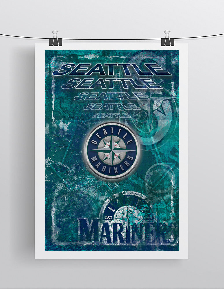 Seattle Mariners Poster, Seattle Mariners Artwork Gift, Mariners Layered Man Cave Art