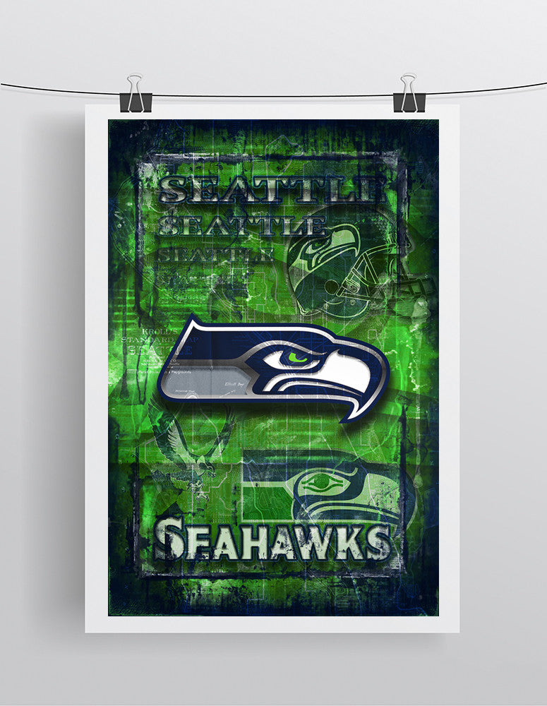 Seattle Seahawks Sports Poster, Seattle Seahawks Artwork, SEAHAWKS in front of Seattle Map, Seahawks Man Cave Gift