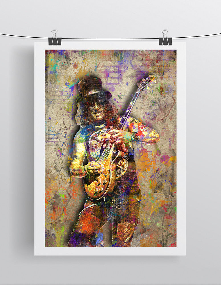 Slash Poster, Slash of Guns N Roses Portrait Gift, Slash Colorful Layered Tribute Fine Pop Art