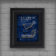 St. Louis Blues Hockey Poster, Blues Hockey Print, STL Blues in front of St. Louis Map