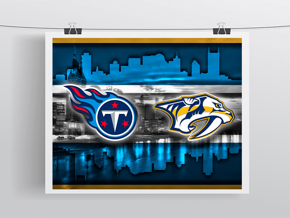 finest selection fd721 10b6f Nashville Sports Teams Poster, Nashville Sports Team Art, Nashville  Predators, Tennessee Titans