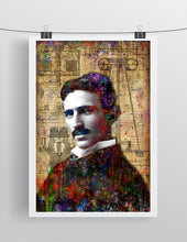 Nikola Tesla Poster, Nikola Tesla Portrait Gift, Nikola Tesla Colorful Layered Tribute Fine Pop Art