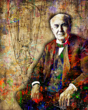 Thomas Edison Poster, Thomas Edison Gift, Inventer Colorful Layered Tribute Fine Art