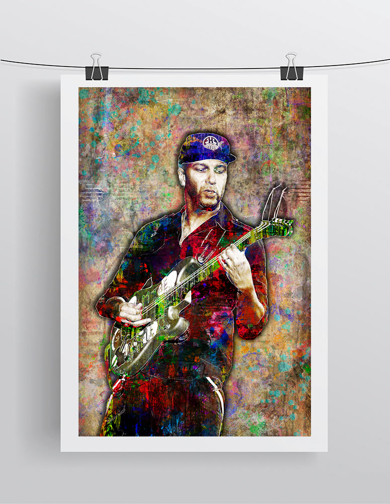 Tom Morello Poster, Rage Against The Machine Gift, Tom Morello Colorful Layered Tribute Fine Art